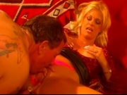 Big titted milf working on top of a guy