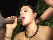 Amazing babe sucking and fucking two black cocks