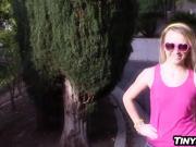 Naughty teen girlfriend fucks her boyfriend outdoors