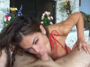 Hot latina in bikini giving a breast fuck