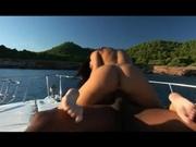 Skinny girl banging black cock in the boat