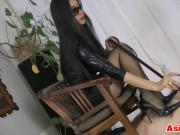 Asian Stepping On Her Slave