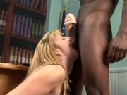 Sexy librarian rammed by massive black pole