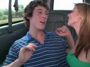 College boy getting shaft gay ridden on the bus floor