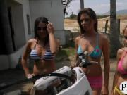 Sexy hot babes try out wakeboarding by the lake in nude