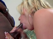 Sexy mom in fishnets banging black cock