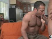 Skinny stud gets hairy ass fucked by a big cock