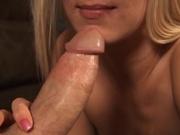Blonde mom sucks a big cock dry