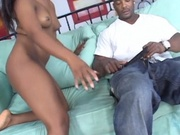 Sexy black chick nailed by stiff black pole