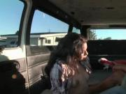 Teen nymph fingering pussy in the sex bus