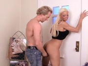 Sexy blonde entertaining a stranger at home