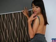 Busty TS strip naked and handjobs her thick cock