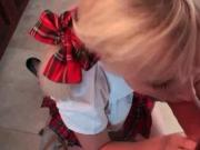 Blonde dressed as school girl nailed in POV