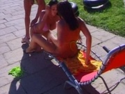 Busty babes fucked one by one in the patio