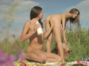 Slim and delicate teen lesbos fucking little twats at sex picnic