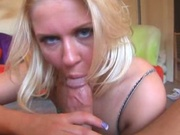 Hot blue eyed chick sucking a big cock