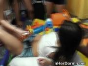 College Girls Get Tits Covered In Honey At Dorm Party