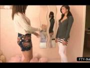 Stockinged hot teen masturbates with vibrator