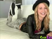 Blonde Teen on Leather Jacket Got Screwed by Big Dick