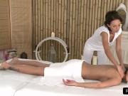 Hot brunette gets feet massage