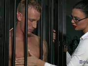 Busty mistress gives blowjob to her sub