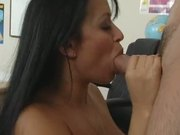 Big titted girl fills her chest with cum