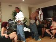 Black men banging white girls in this orgy