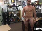 Amateur hunk tugging on his cock at the pawn shop