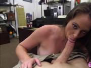 Sexy mature babe demonstrate her sex toys in front of a pervert shop owner