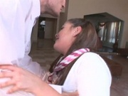 Pretty teen gets fucked with uniform still on
