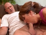 Two brunette sluts hammered by one cock