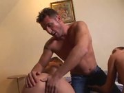 Nasty girls swapping cum after steamy threesome