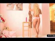 Superb blonde beauty shoves huge dildo in pussy