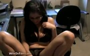 Asian milf grabs a dildo and masturbates