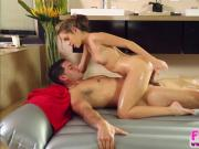 Horny and shaved Kimmy Granger puzzles dude and gets hammered