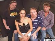 Hot Ass Brunette Pleases Bukkake Crew!