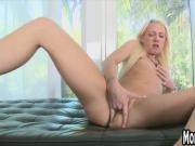 Small tit blonde masturbates and sucks a big cock