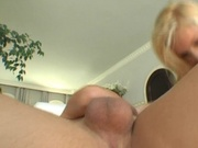 Nasty blonde swallos cum from two cocks