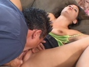 Milf rubs her body with oil then goes fucking
