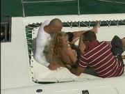 Threesome sex on the boat with hot blonde