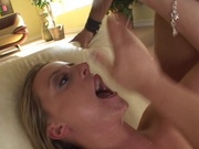 Housewife deep throats a stud