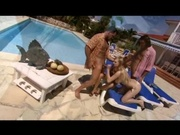 Pretty naked girls gang banged by the pool