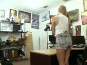 Small tits babe banged by pawn keeper