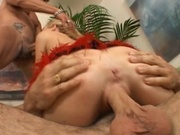 Amazing hottie fits in two cocks in her pussy