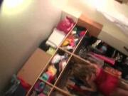 College babes playing dress up in dorm room