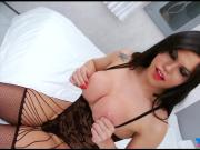 Big enhanced tits tranny asshole ripped by hard man meat