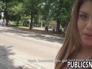 Big tit brunette sucks a big cock in public