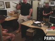 Amateur stud gets his cock sucked on at the pawn shop