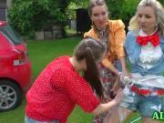 Playful czech girls outdoor mess
