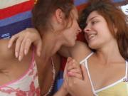 Genuine lesbian love on the beach